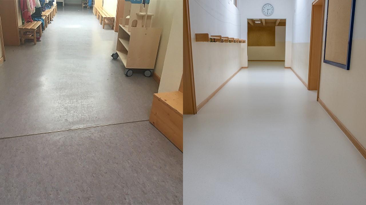 Hogenet renoveerde linoleumvloer Duitsland